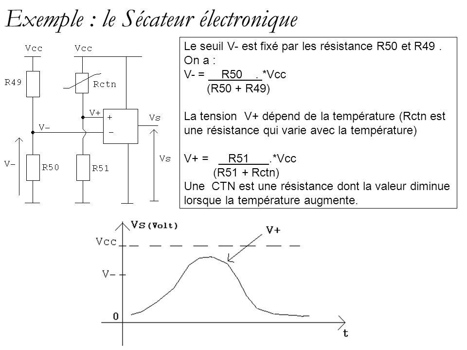Exemple : le Sécateur électronique Le seuil V- est fixé par les résistance R50 et R49. On a : V- = R50. *Vcc (R50 + R49) La tension V+ dépend de la te