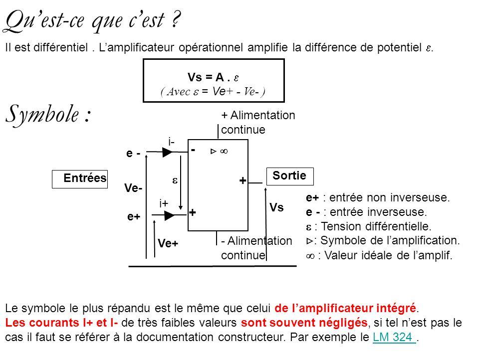 Symbole : Le symbole le plus répandu est le même que celui de lamplificateur intégré. Les courants I+ et I- de très faibles valeurs sont souvent négli