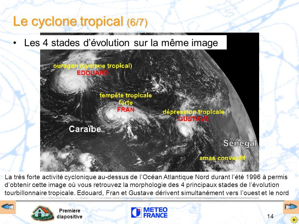 Première diapositive 13 Le cyclone tropical (5/7) Trajectoires, vitesses de déplacement formation 5kt 15/20 kt 25/30 kt trajectoires erratiques remarq