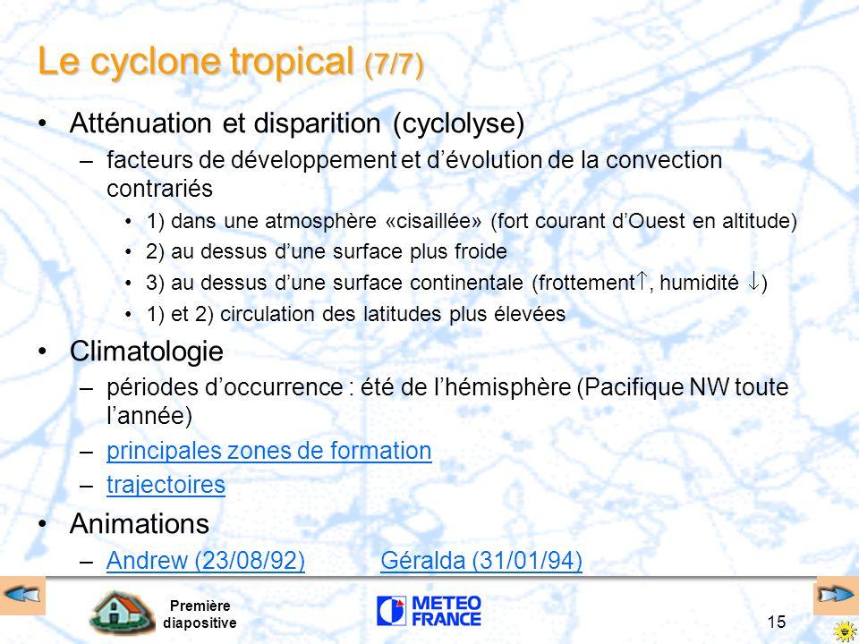 Première diapositive 14 Le cyclone tropical (6/7) Les 4 stades dévolution sur la même image La très forte activité cyclonique au-dessus de lOcéan Atla