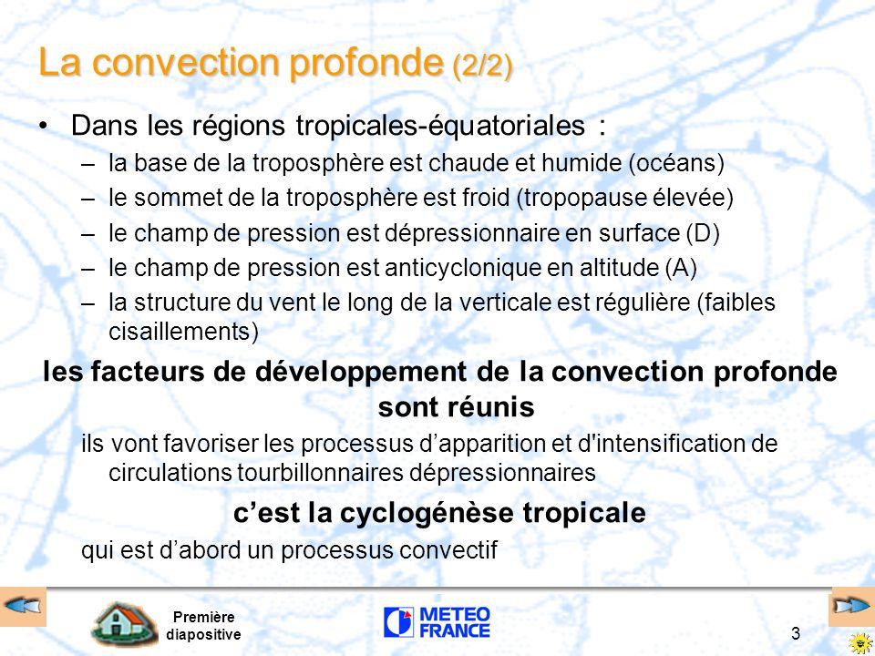 Première diapositive 3 La convection profonde (2/2) Dans les régions tropicales-équatoriales : –la base de la troposphère est chaude et humide (océans) –le sommet de la troposphère est froid (tropopause élevée) –le champ de pression est dépressionnaire en surface (D) –le champ de pression est anticyclonique en altitude (A) –la structure du vent le long de la verticale est régulière (faibles cisaillements) les facteurs de développement de la convection profonde sont réunis ils vont favoriser les processus dapparition et d intensification de circulations tourbillonnaires dépressionnaires cest la cyclogénèse tropicale qui est dabord un processus convectif
