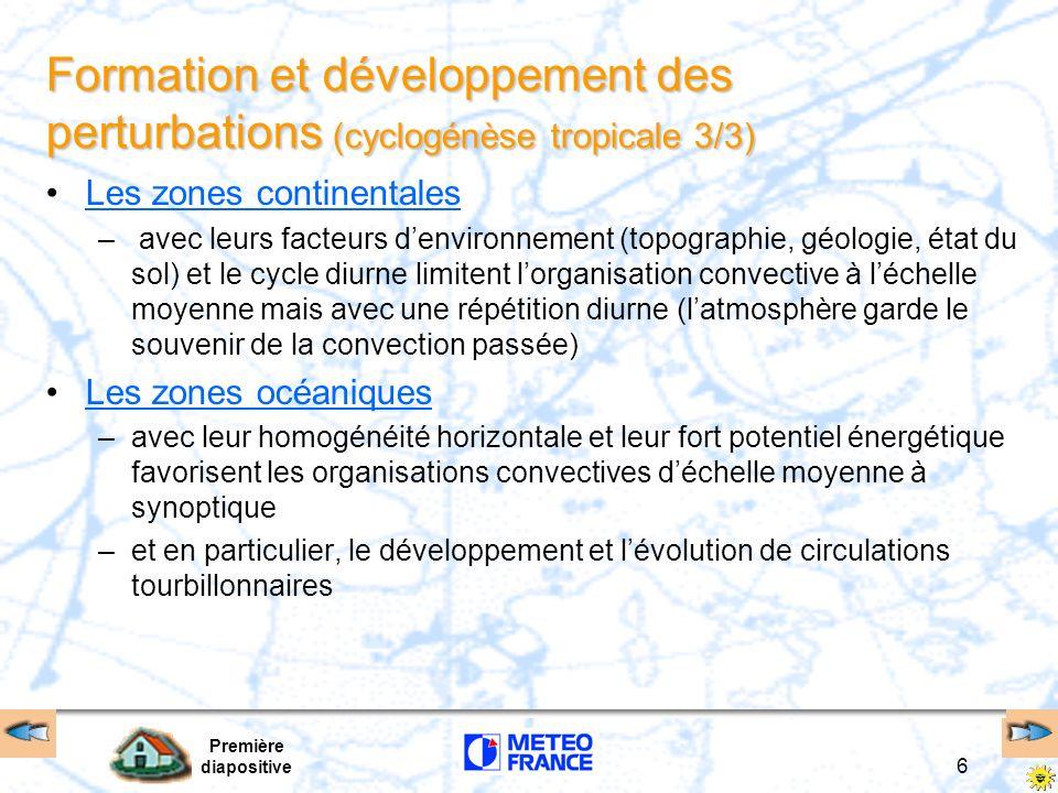 Première diapositive 5 Formation et développement des perturbations ( cyclogénèse tropicale 2/3) La convection dessine des tendances « grégaires » ou