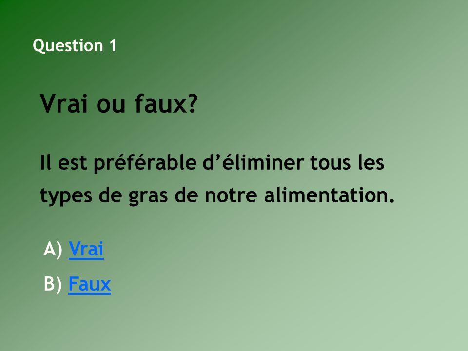 Vrai ou faux? Il est préférable déliminer tous les types de gras de notre alimentation. Question 1 A) VraiVrai B) FauxFaux