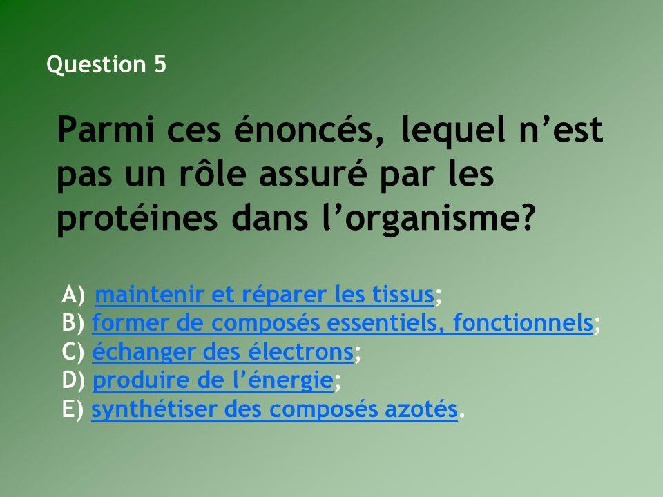 Parmi ces énoncés, lequel nest pas un rôle assuré par les protéines dans lorganisme? A)maintenir et réparer les tissus;maintenir et réparer les tissus