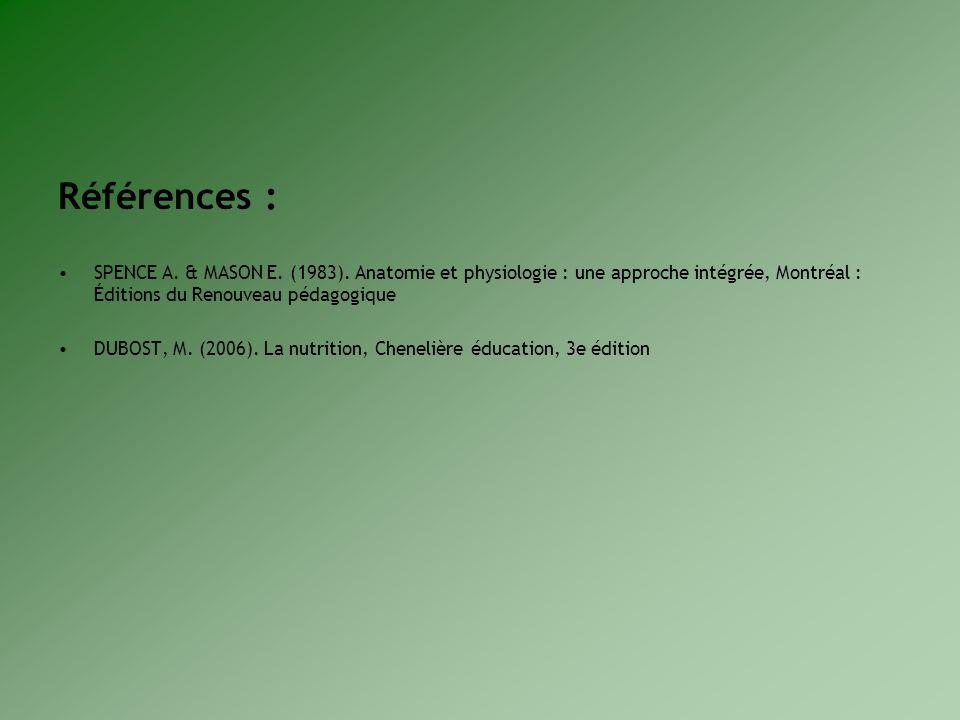 Références : SPENCE A. & MASON E. (1983). Anatomie et physiologie : une approche intégrée, Montréal : Éditions du Renouveau pédagogique DUBOST, M. (20