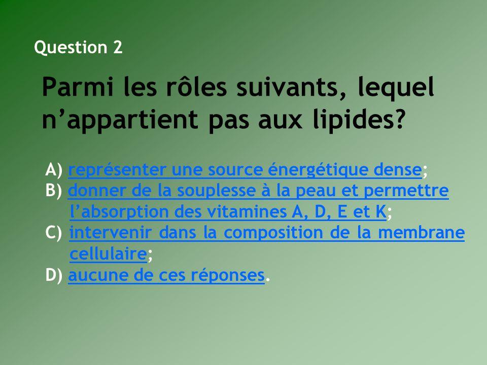 Parmi les rôles suivants, lequel nappartient pas aux lipides? A) représenter une source énergétique dense;représenter une source énergétique dense B)
