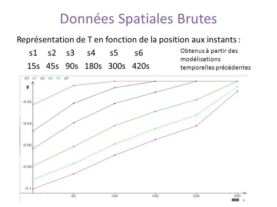 Données Spatiales Brutes Représentation de T en fonction de la position aux instants : s1 s2 s3 s4 s5 s6 15s 45s 90s 180s 300s 420s Obtenus à partir d
