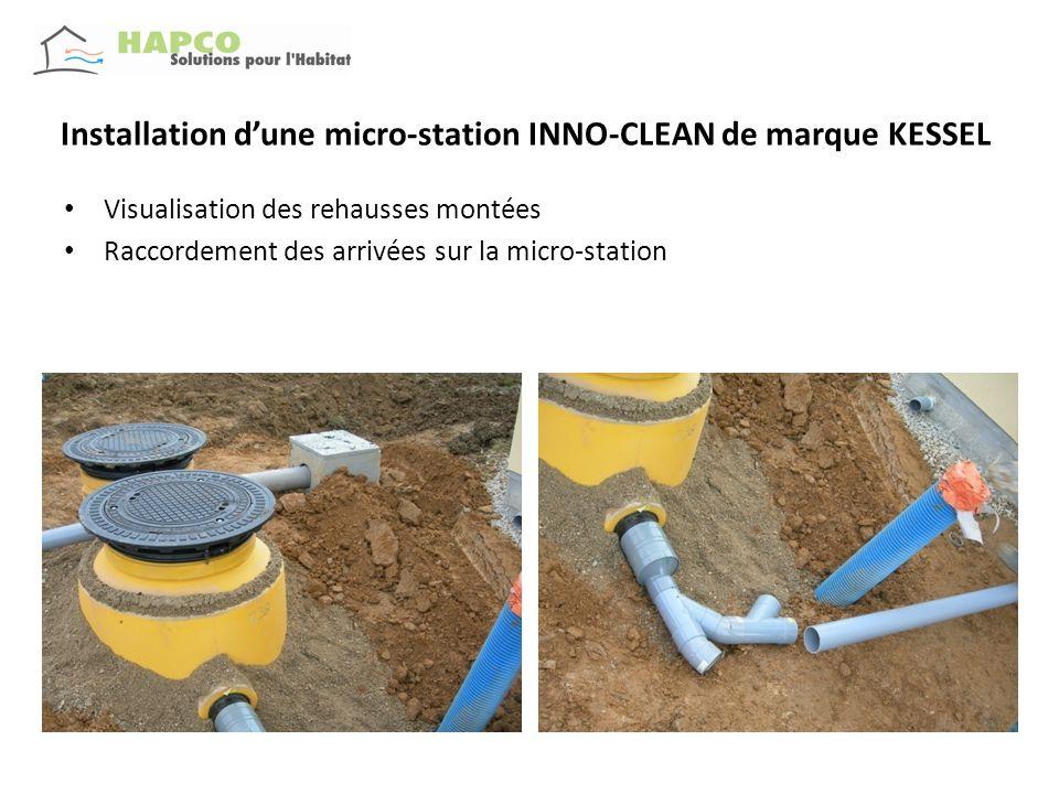 Installation dune micro-station INNO-CLEAN de marque KESSEL Visualisation des rehausses montées Raccordement des arrivées sur la micro-station