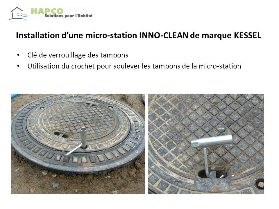 Installation dune micro-station INNO-CLEAN de marque KESSEL Clé de verrouillage des tampons Utilisation du crochet pour soulever les tampons de la mic