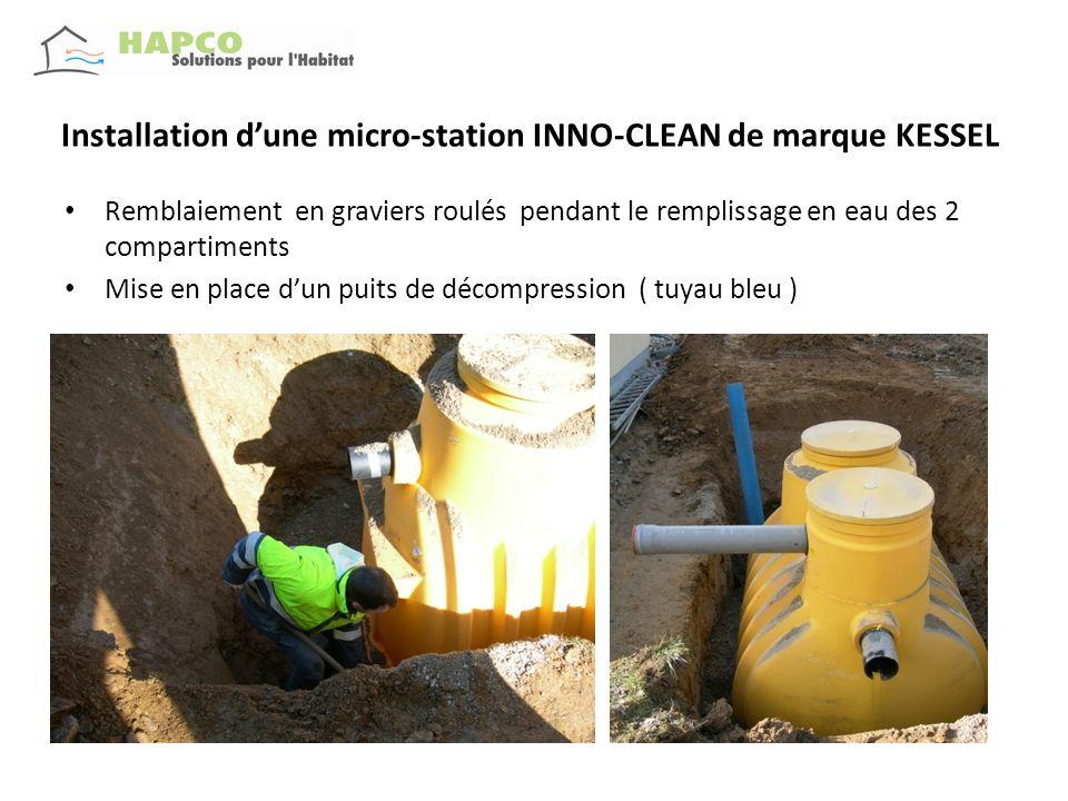 Installation dune micro-station INNO-CLEAN de marque KESSEL Remblaiement à la pelle ( les manchons dentrée et sortie sont protégés) Remplissage deau faite ( ici dans le compartiment de décantation)