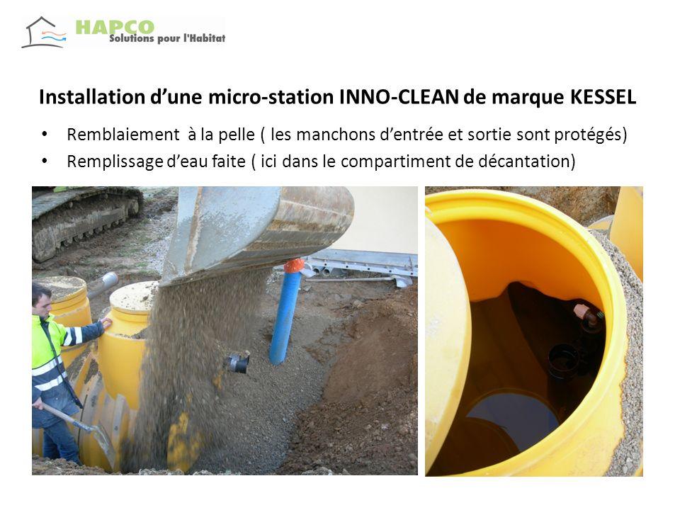 Installation dune micro-station INNO-CLEAN de marque KESSEL Remblaiement à la pelle ( les manchons dentrée et sortie sont protégés) Remplissage deau f