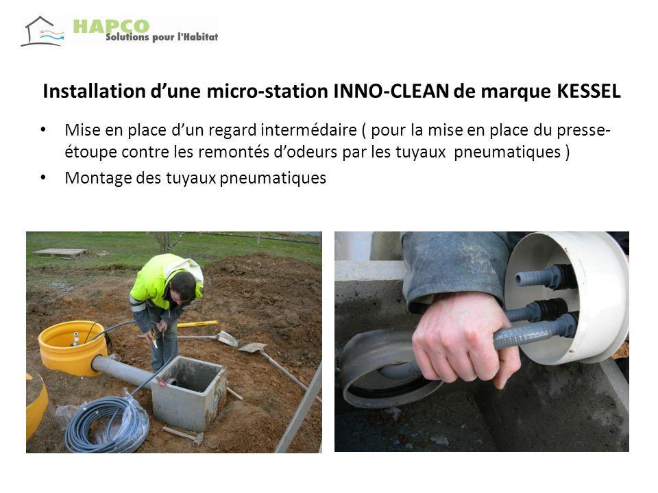 Installation dune micro-station INNO-CLEAN de marque KESSEL Raccordement dans le compartiment de traitement Préparation des rehausses
