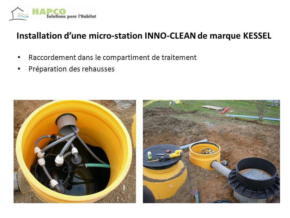 Installation dune micro-station INNO-CLEAN de marque KESSEL Détails de joints détancheitée à lèvres ( rehausses/ cuve) Joint sous tampon en fonte ( avec le détail du système de verrouillage )