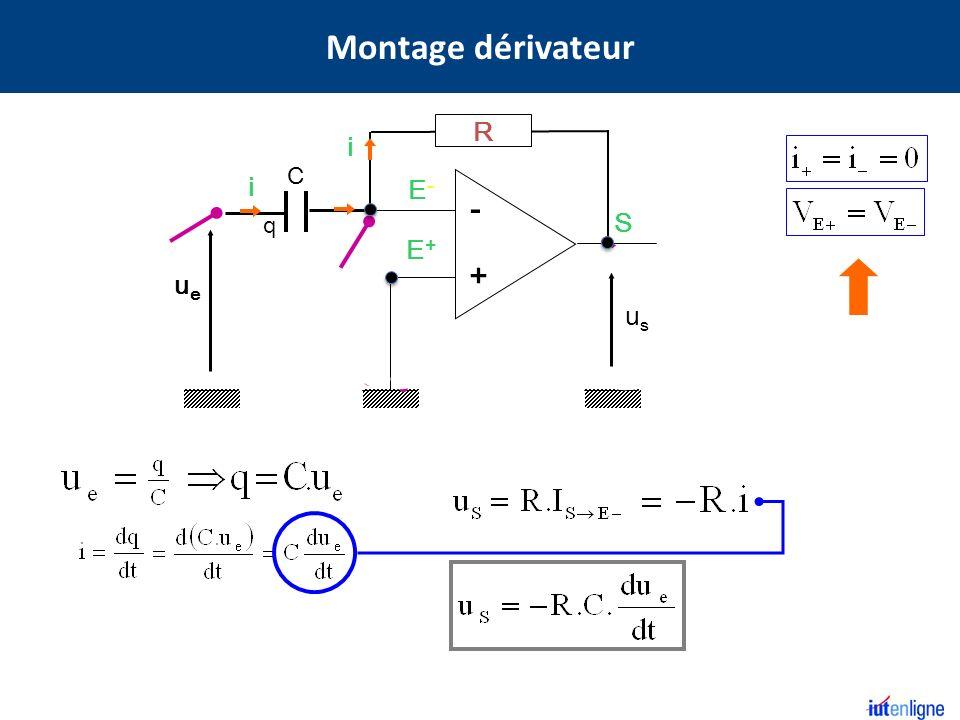 E+E+ E-E- S - + R i ueue C q i usus Montage dérivateur