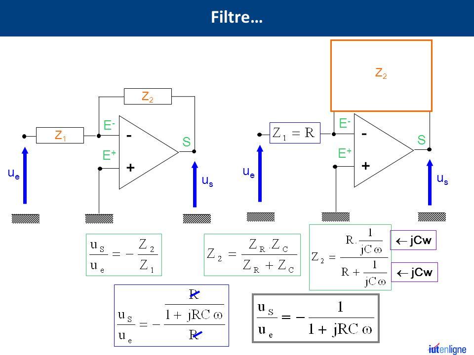 S E+E+ E-E- - + Z2Z2 Z1Z1 usus ueue S E+E+ E-E- - + R usus ueue R C jCw Z2Z2 Filtre…