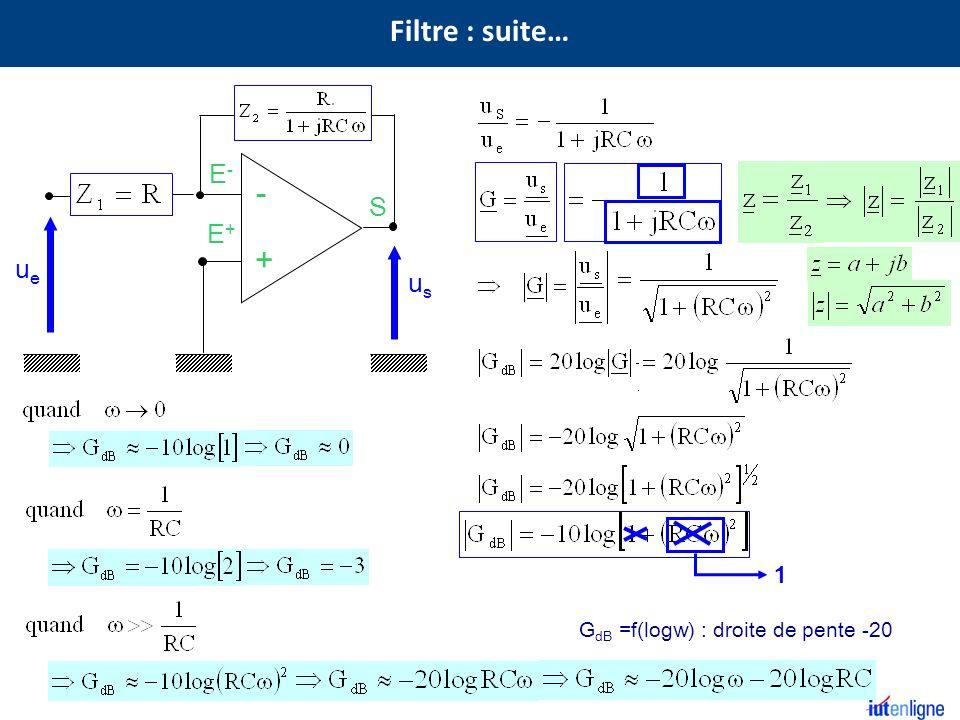 S E+E+ E-E- - + R usus ueue G dB =f(logw) : droite de pente -20 1 Filtre : suite…