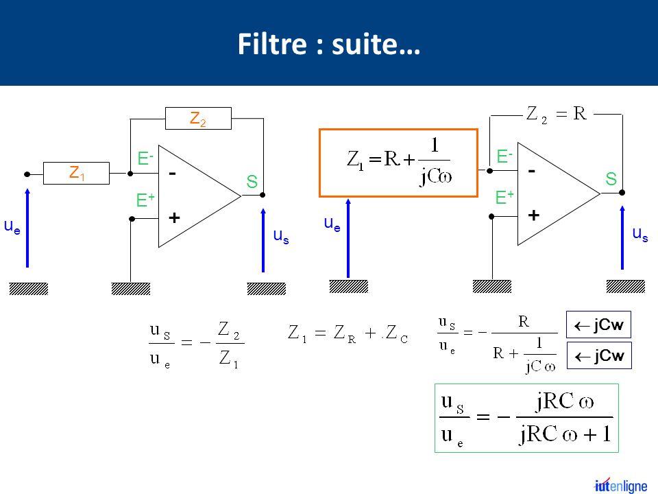 S E+E+ E-E- - + Z2Z2 Z1Z1 usus ueue S E+E+ E-E- - + R jCw R C usus ueue Filtre : suite…