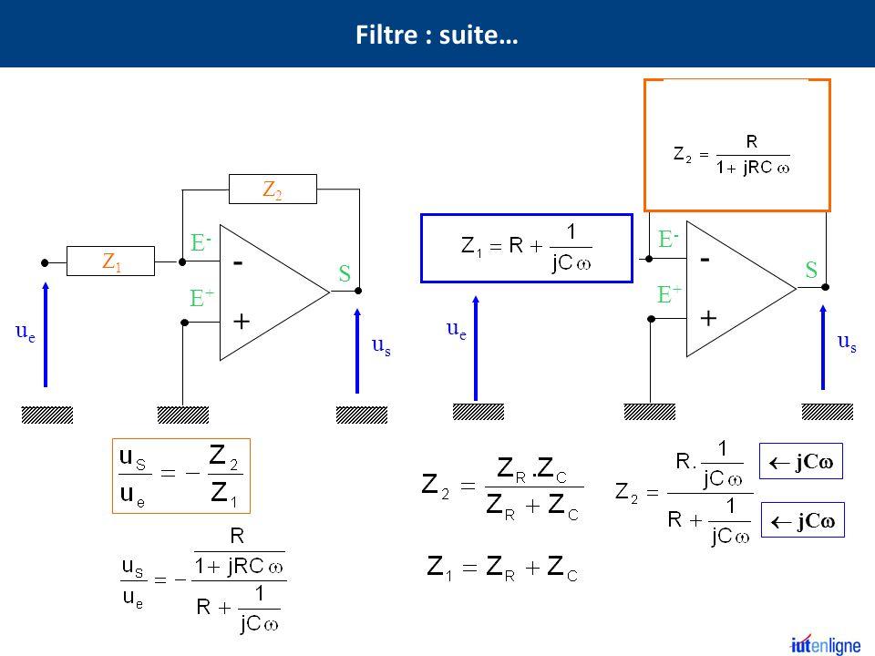 S E+E+ E-E- - + Z2Z2 Z1Z1 usus ueue S E+E+ E-E- - + usus ueue R C R C Z2Z2 jC Filtre : suite…