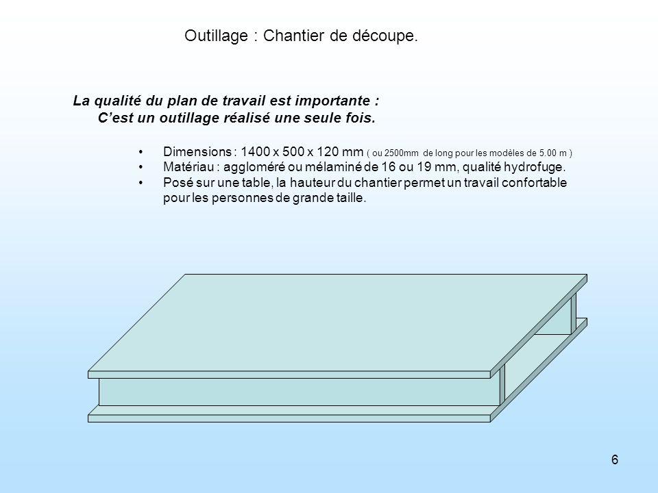 6 Outillage : Chantier de découpe. La qualité du plan de travail est importante : Cest un outillage réalisé une seule fois. Dimensions : 1400 x 500 x