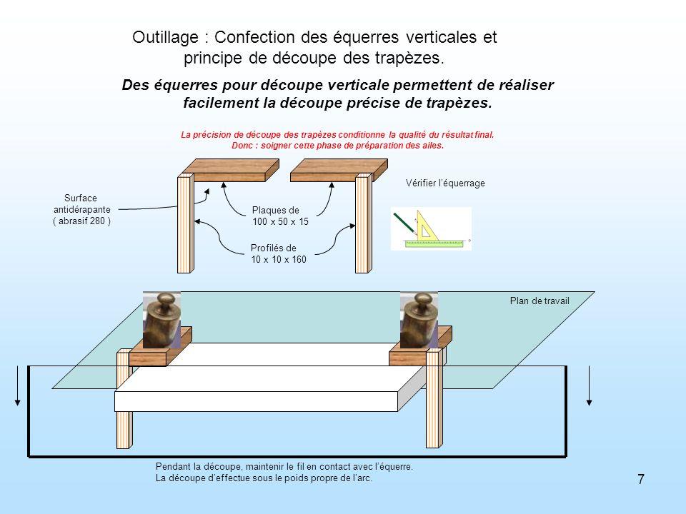 7 Outillage : Confection des équerres verticales et principe de découpe des trapèzes. Des équerres pour découpe verticale permettent de réaliser facil