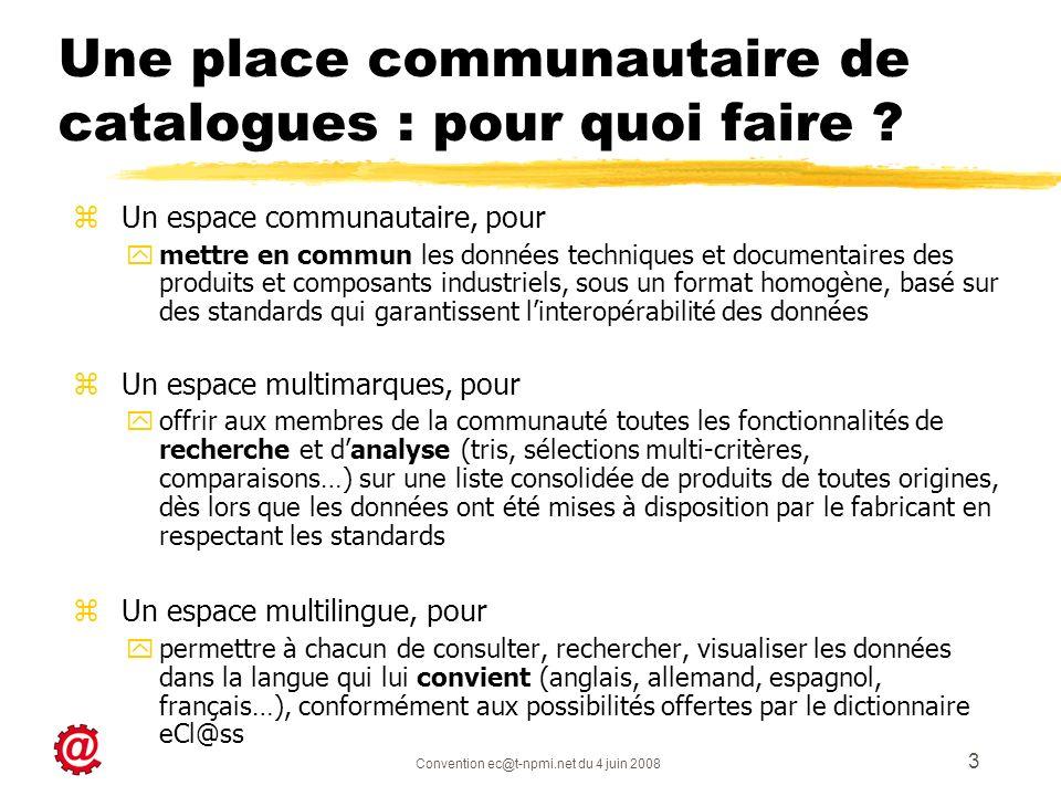 Convention ec@t-npmi.net du 4 juin 2008 3 Une place communautaire de catalogues : pour quoi faire ? z Un espace communautaire, pour ymettre en commun