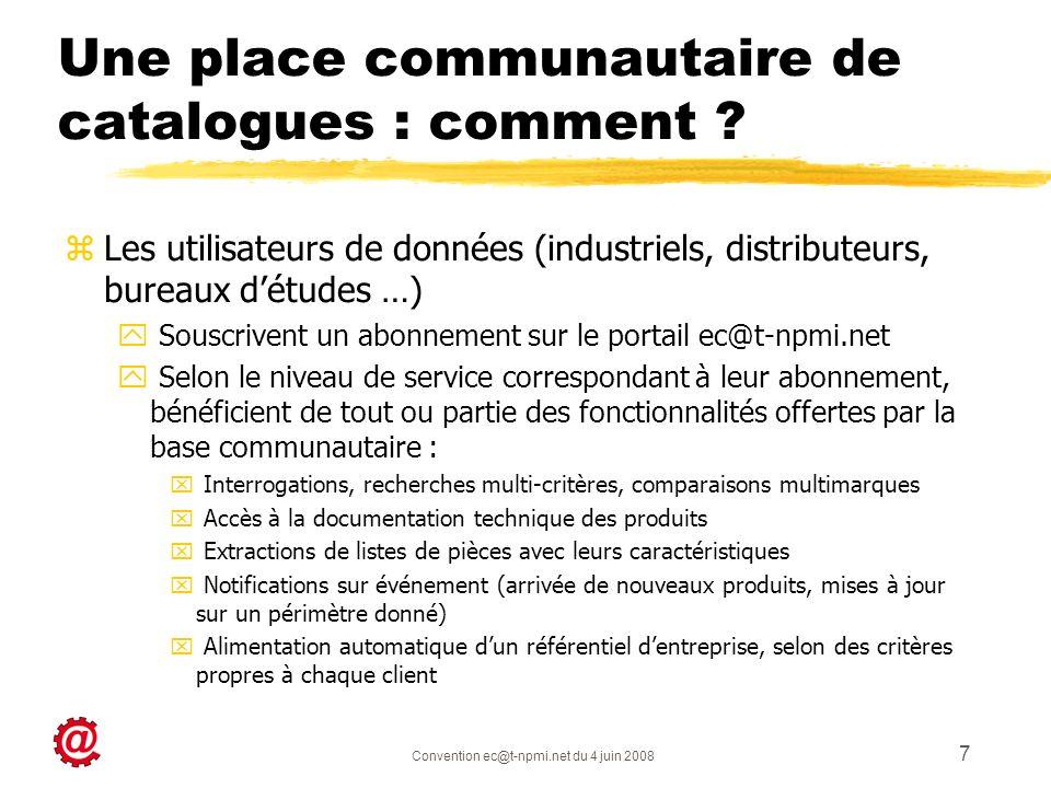 Convention ec@t-npmi.net du 4 juin 2008 7 Une place communautaire de catalogues : comment ? zLes utilisateurs de données (industriels, distributeurs,