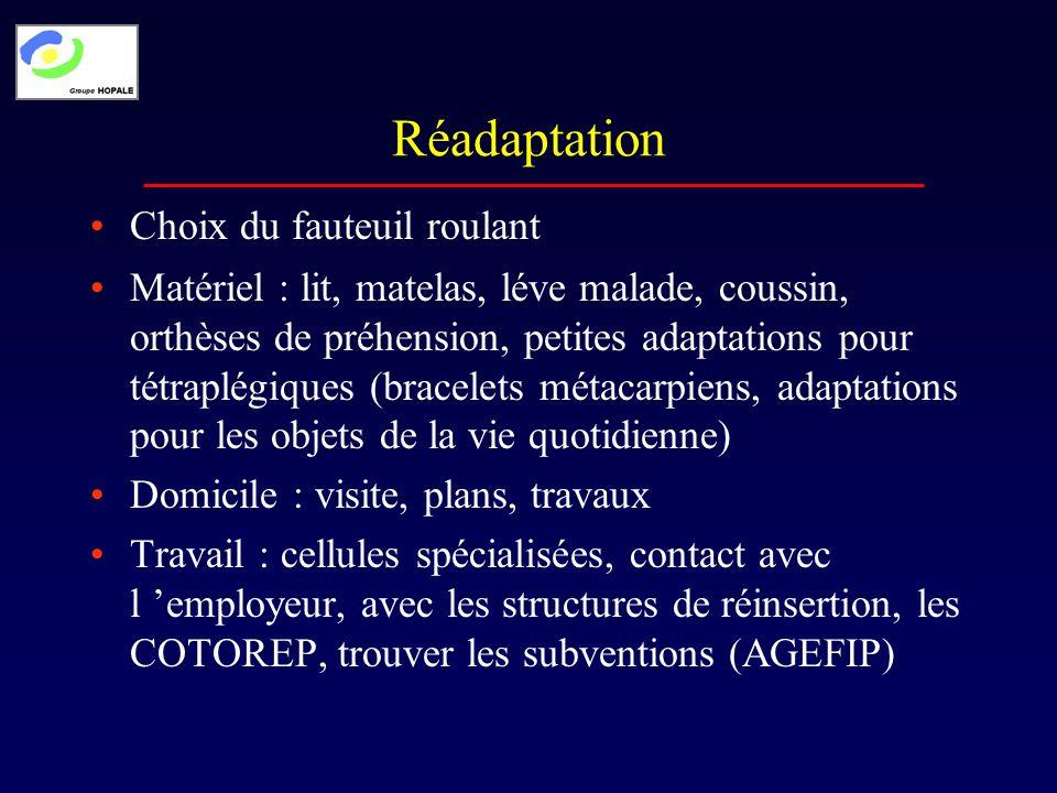 Réadaptation Matériel : lit, matelas, léve malade, coussin, orthèses de préhension, petites adaptations pour tétraplégiques (bracelets métacarpiens, a