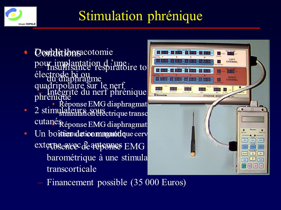 Conditions –Insuffisance respiratoire totale par défaillance complète du diaphragme –Intégrité du nerf phrénique : Réponse EMG diaphragmatique et baro