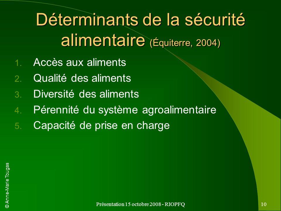 © Anne-Marie Tougas Présentation 15 octobre 2008 - RIOPFQ10 Déterminants de la sécurité alimentaire (Équiterre, 2004) 1. Accès aux aliments 2. Qualité