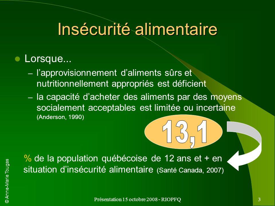 © Anne-Marie Tougas Présentation 15 octobre 2008 - RIOPFQ3 Insécurité alimentaire Lorsque... – lapprovisionnement daliments sûrs et nutritionnellement