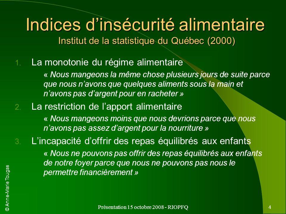 © Anne-Marie Tougas Présentation 15 octobre 2008 - RIOPFQ4 Indices dinsécurité alimentaire Institut de la statistique du Québec (2000) 1. La monotonie