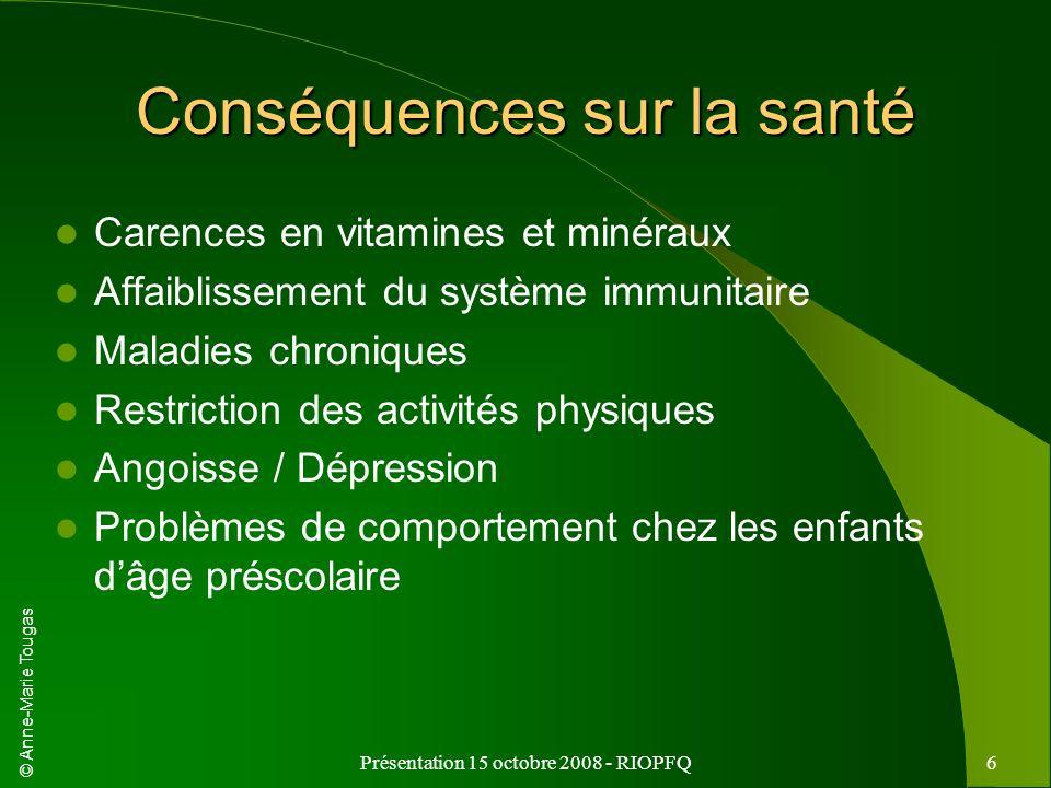 © Anne-Marie Tougas Présentation 15 octobre 2008 - RIOPFQ6 Conséquences sur la santé Carences en vitamines et minéraux Affaiblissement du système immu