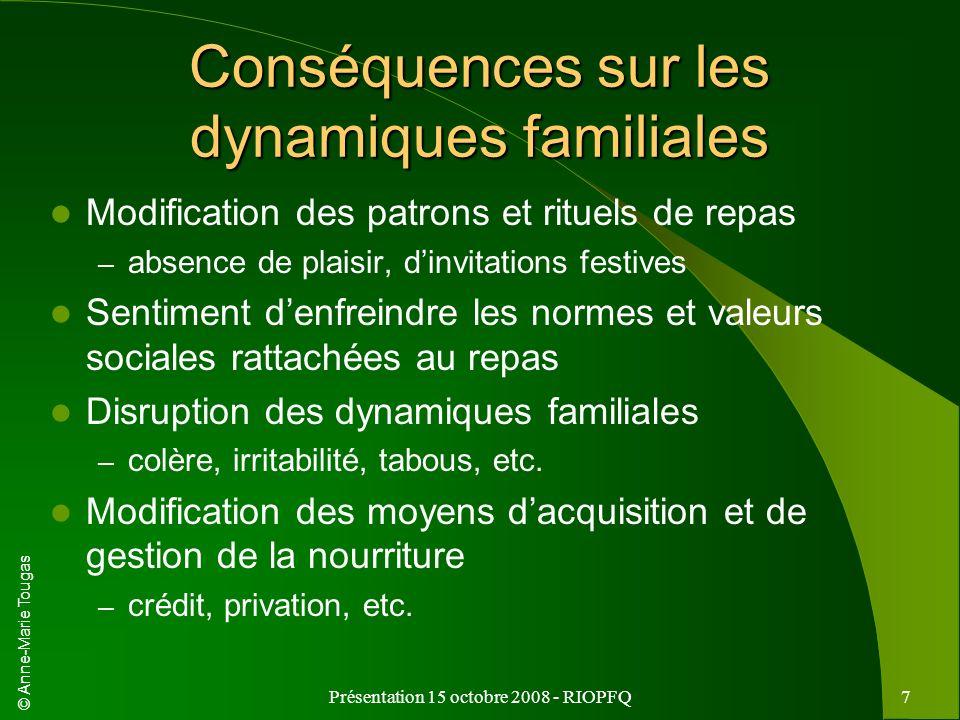 © Anne-Marie Tougas Présentation 15 octobre 2008 - RIOPFQ7 Conséquences sur les dynamiques familiales Modification des patrons et rituels de repas – a
