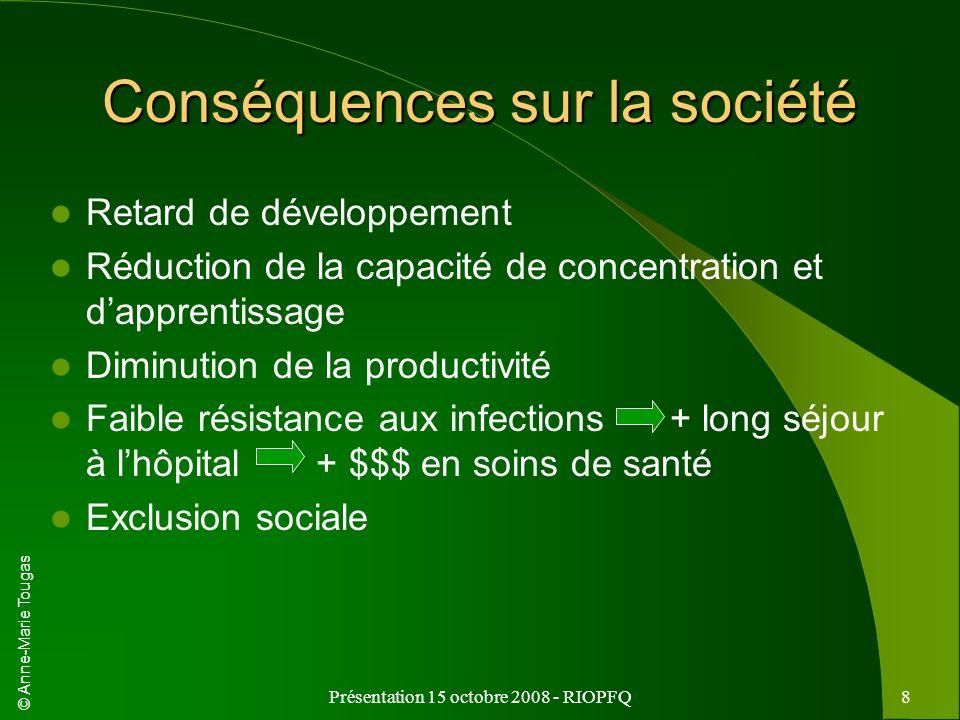 © Anne-Marie Tougas Présentation 15 octobre 2008 - RIOPFQ8 Conséquences sur la société Retard de développement Réduction de la capacité de concentrati