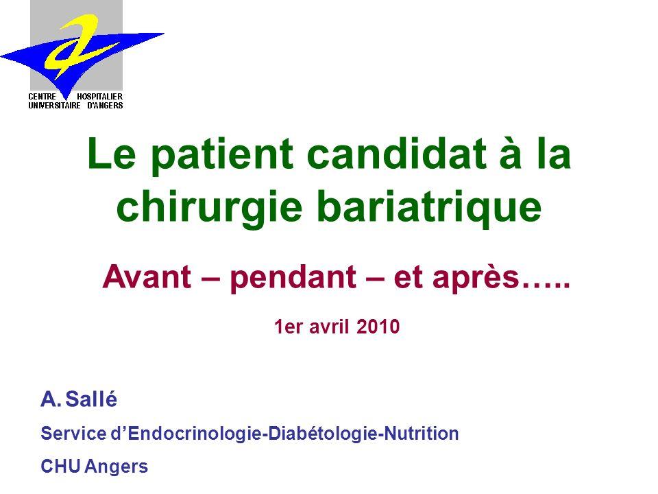 Le patient candidat à la chirurgie bariatrique A.Sallé Service dEndocrinologie-Diabétologie-Nutrition CHU Angers Avant – pendant – et après…..