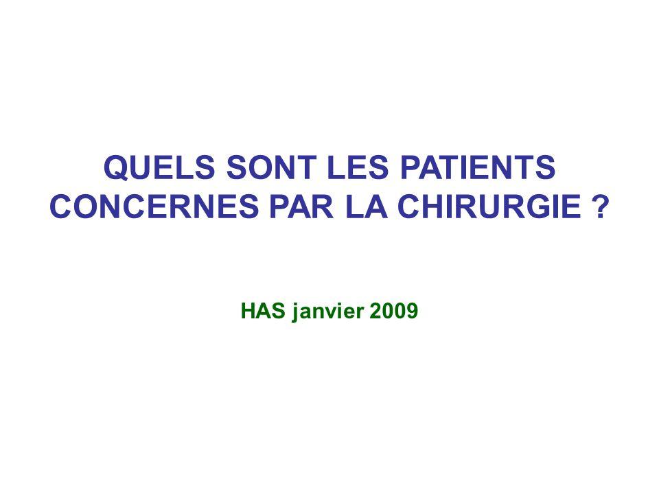 QUELS SONT LES PATIENTS CONCERNES PAR LA CHIRURGIE ? HAS janvier 2009