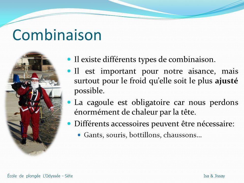Combinaison Il existe différents types de combinaison. Il est important pour notre aisance, mais surtout pour le froid quelle soit le plus ajusté poss