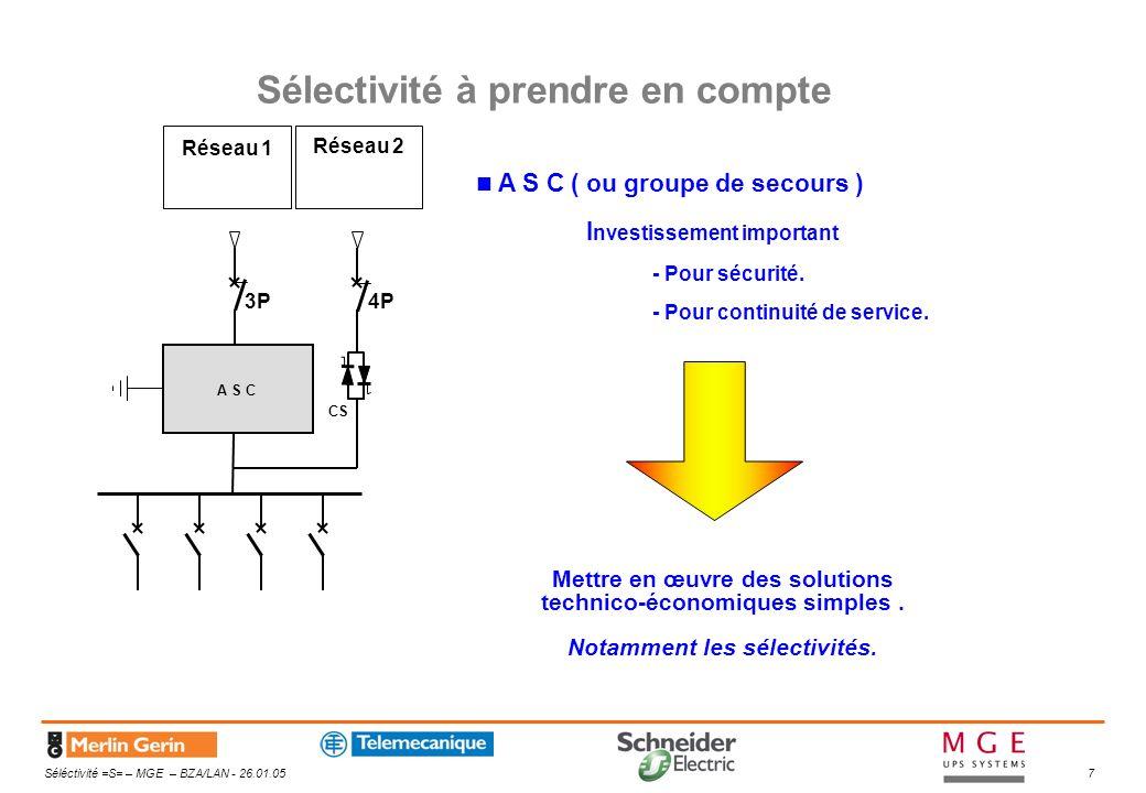 Séléctivité =S= – MGE – BZA/LAN - 26.01.058 Distribution déportée A S C CS Différentes architectures A S C Distribution locale CS