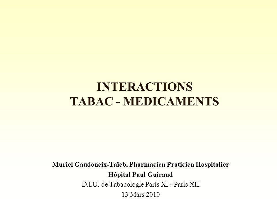 INTERACTIONS TABAC - MEDICAMENTS Muriel Gaudoneix-Taïeb, Pharmacien Praticien Hospitalier Hôpital Paul Guiraud D.I.U.