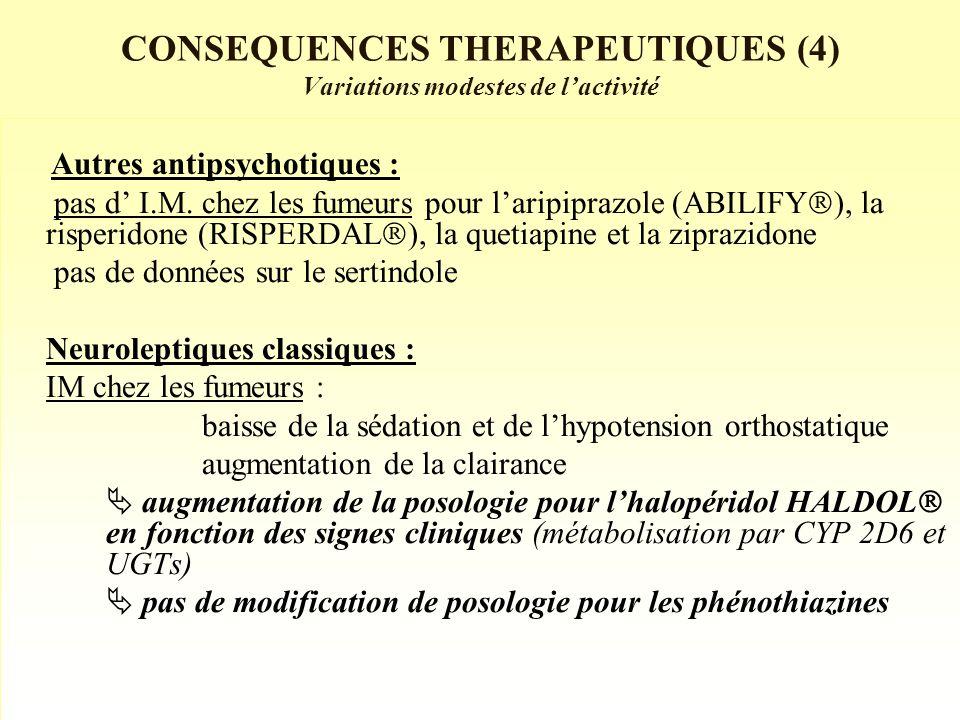 CONSEQUENCES THERAPEUTIQUES (4) Variations modestes de lactivité Autres antipsychotiques : pas d I.M.
