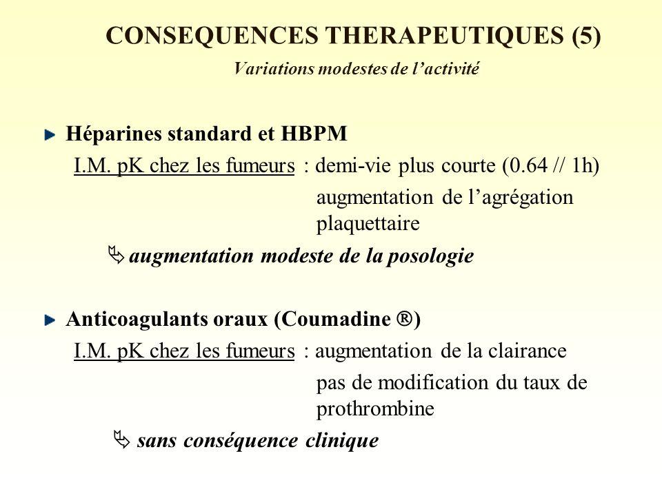 CONSEQUENCES THERAPEUTIQUES (5) Variations modestes de lactivité Héparines standard et HBPM I.M.