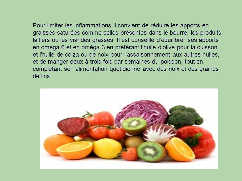 Pour limiter les inflammations il convient de réduire les apports en graisses saturées comme celles présentes dans le beurre, les produits laitiers ou