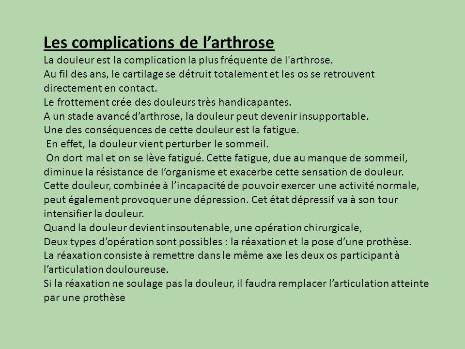 Les complications de larthrose La douleur est la complication la plus fréquente de l'arthrose. Au fil des ans, le cartilage se détruit totalement et l