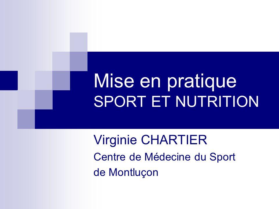 Mise en pratique SPORT ET NUTRITION Virginie CHARTIER Centre de Médecine du Sport de Montluçon