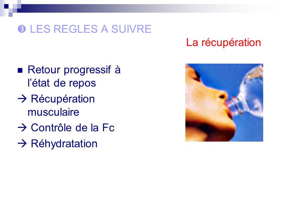 LES REGLES A SUIVRE La récupération Retour progressif à létat de repos Récupération musculaire Contrôle de la Fc Réhydratation