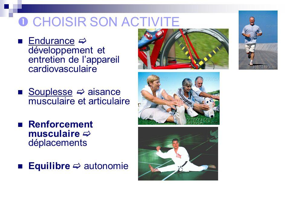 CHOISIR SON ACTIVITE Endurance développement et entretien de lappareil cardiovasculaire Souplesse aisance musculaire et articulaire Renforcement musculaire déplacements Equilibre autonomie