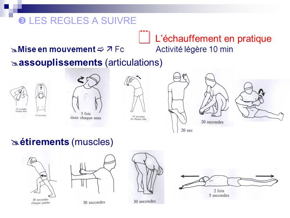 LES REGLES A SUIVRE Léchauffement en pratique Mise en mouvement FcActivité légère 10 min assouplissements (articulations) étirements (muscles)