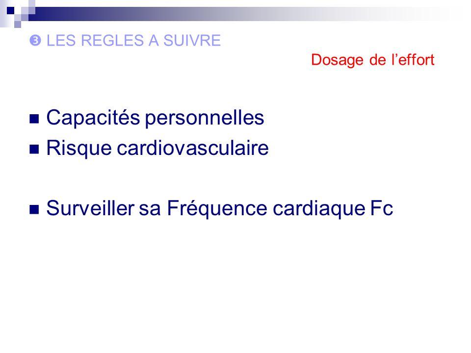 LES REGLES A SUIVRE Dosage de leffort Capacités personnelles Risque cardiovasculaire Surveiller sa Fréquence cardiaque Fc