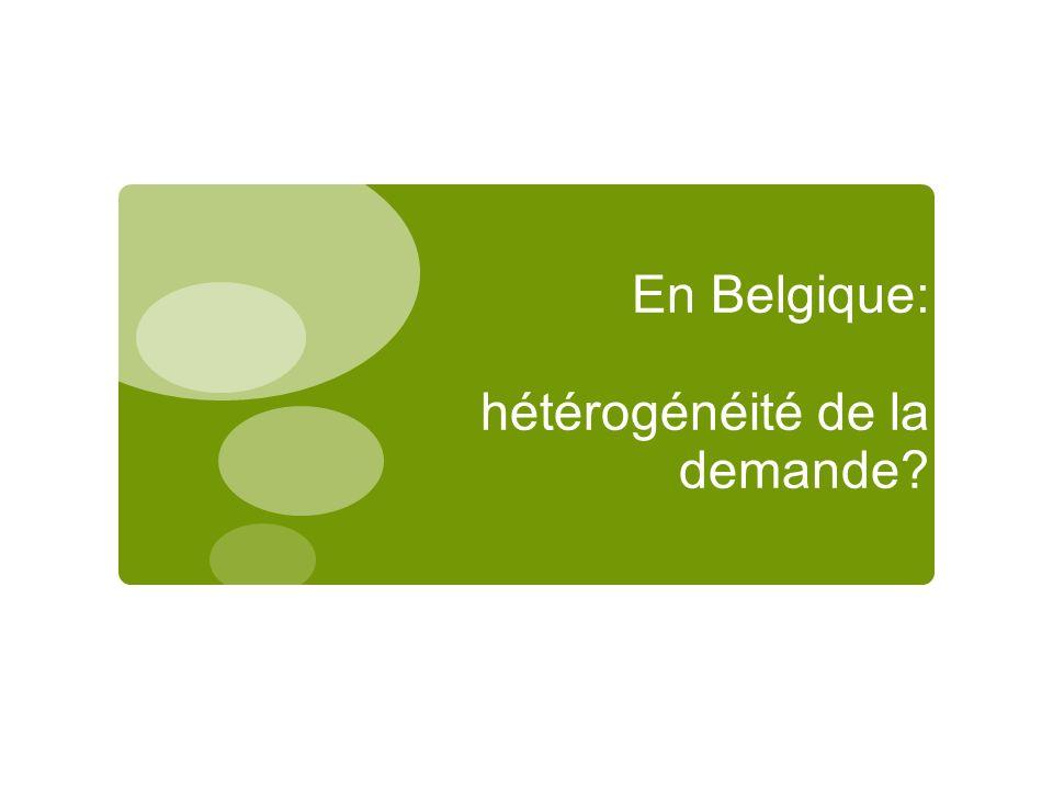 En Belgique: hétérogénéité de la demande?