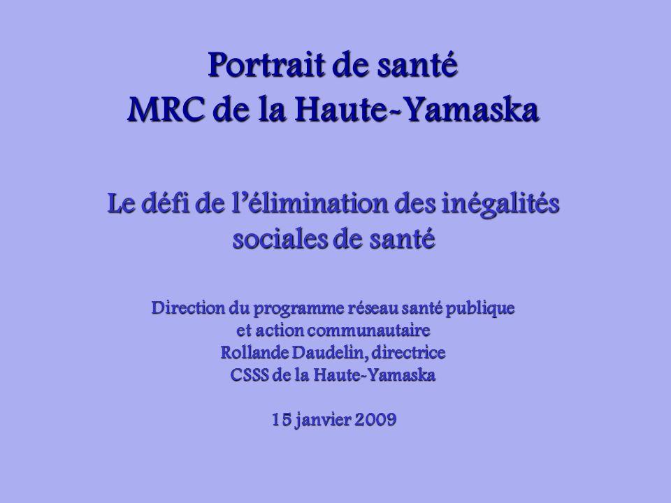 Portrait de santé MRC de la Haute-Yamaska Le défi de lélimination des inégalités sociales de santé Direction du programme réseau santé publique et act